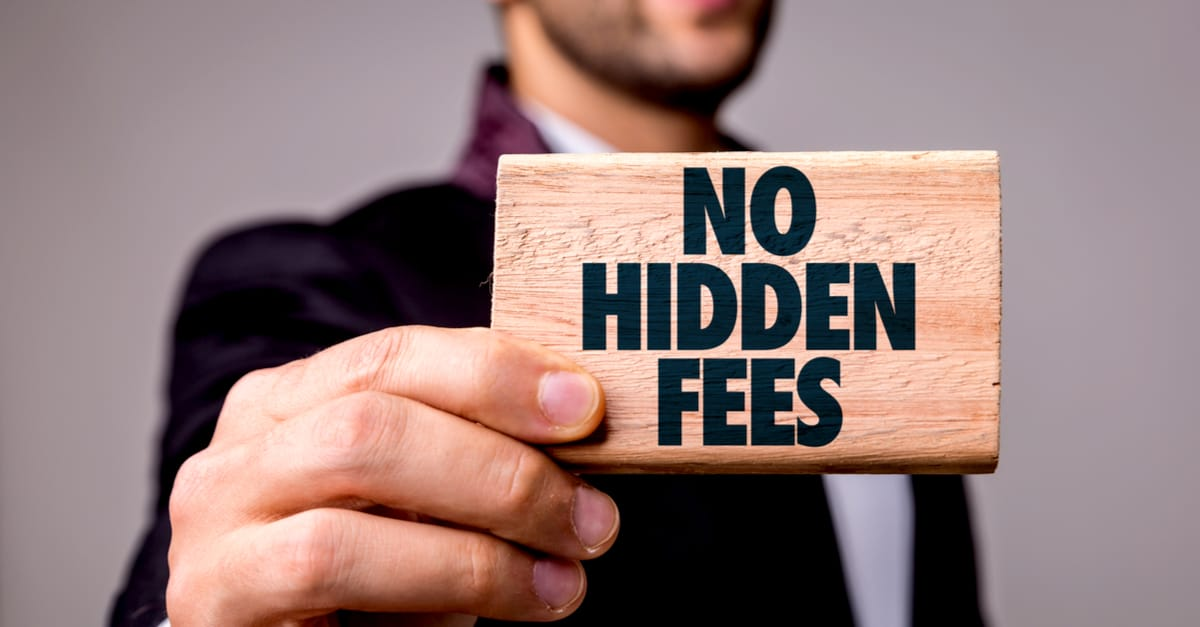 solicitor holding notice win no hidden fees printed on it