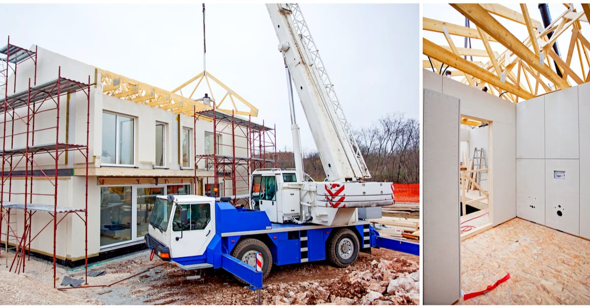 crane dropping in prefabricated house